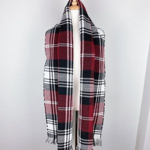 MudPie One Size Reversible Red/Back Scarf